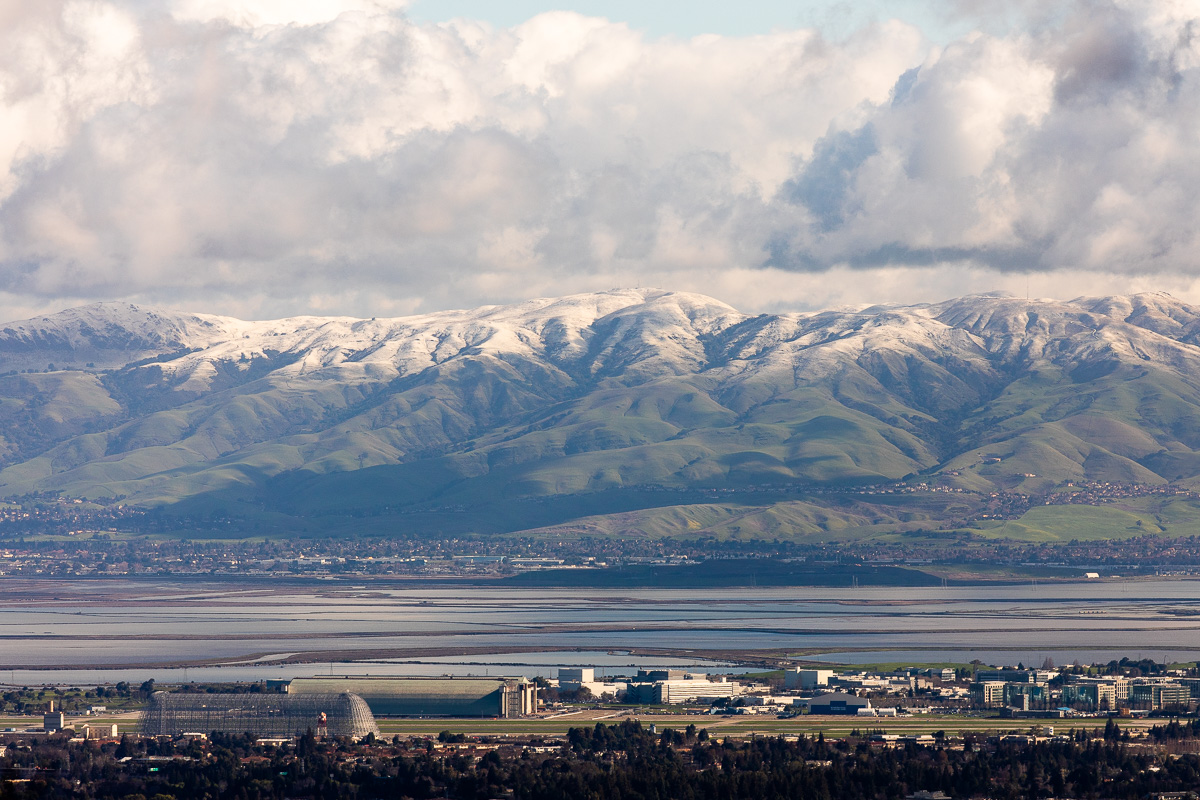 Bay Area snow above Moffett Field in Mountain View