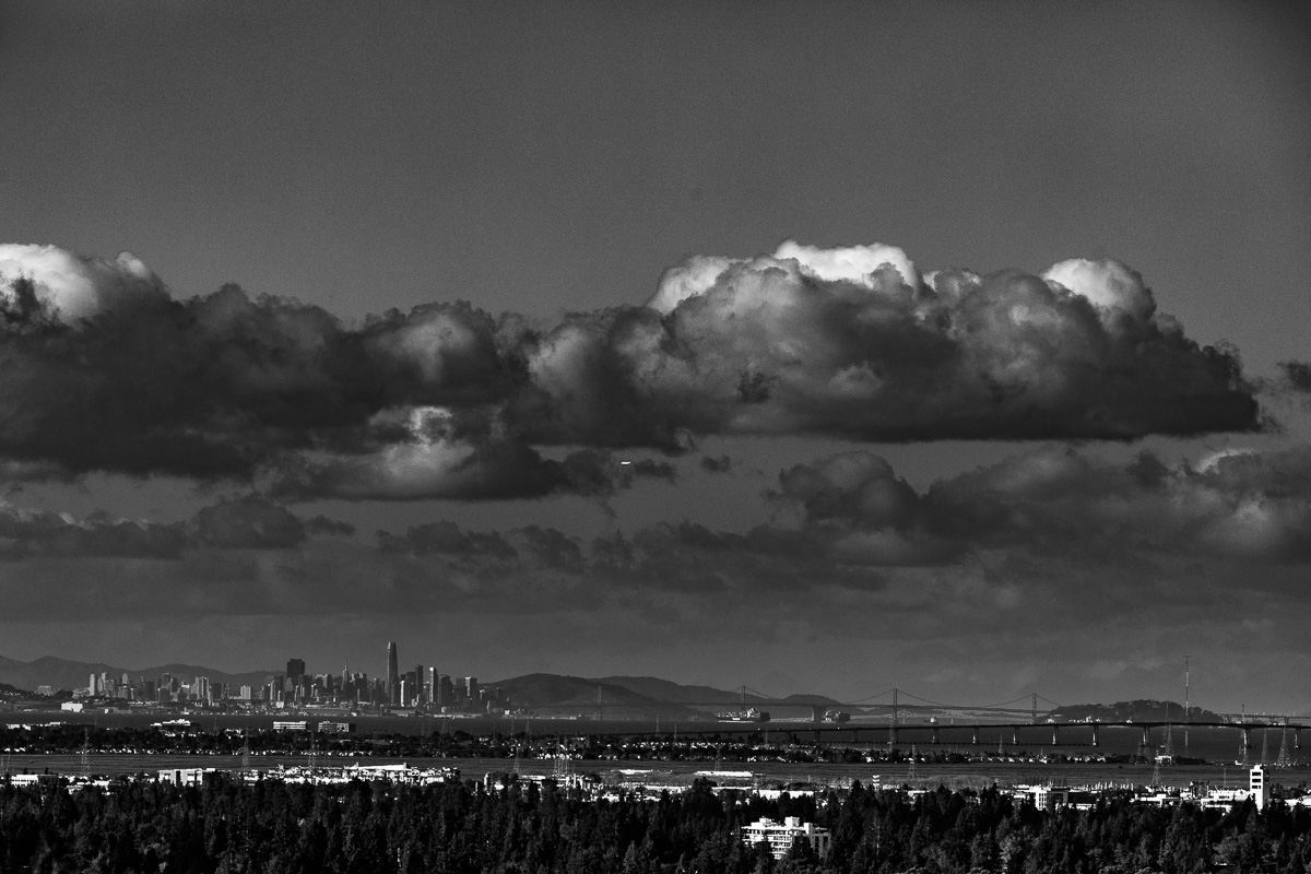 San Francisco skyline as seen from Palo Alto on a clear day.