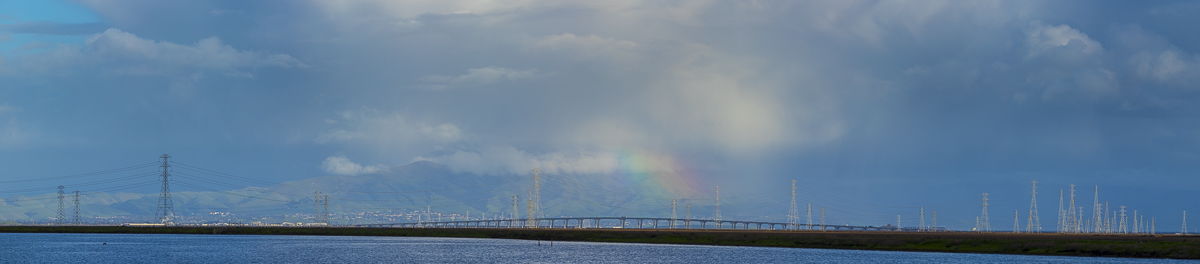 A rainbow over the Dumbarton Bridge in Menlo Park.